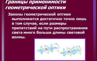Основные законы геометрической оптики: основные понятия и границы применимости